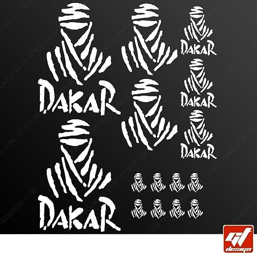 Tabla 15 pegatinas autoadhesivas DAKAR-- Adhesivo blanco, Moto, bicicleta, kit, deco, tuning, decal, GT-DESIGN: Amazon.es: Coche y moto