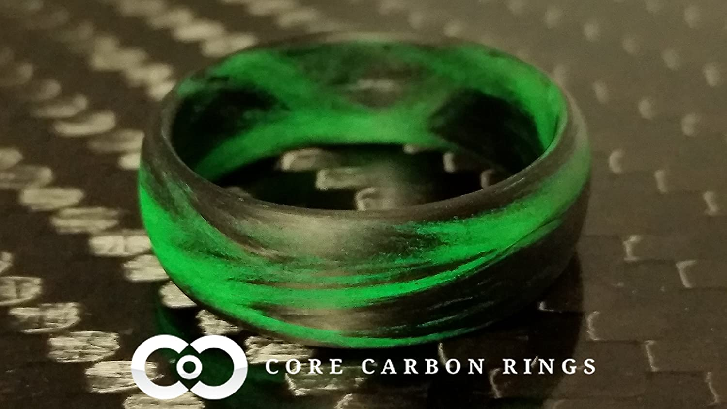 Carbon Fiber Marbled Glow Ring-Black and Green