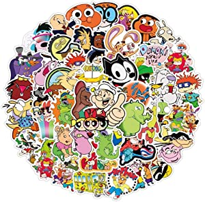 90S Cartoon Stickers for Laptop Computer (50 Pcs),Gift for Teens Adults Girl,Waterproof Anime Cartoon Characters Stickers for Water Bottle,Hydroflask,Cute Vinyl Stickers for Skateboard,Phone Car