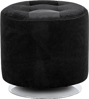 Sunpan Modern 102502 Domani Swivel Small-Black Faux Fur Ottomans