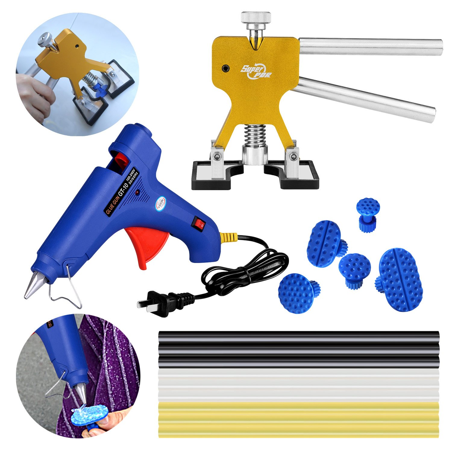 AUTOPDR 16Pcs Pop A Dent PDR Auto Car Body Paintless Dent Repair Removal Remover PDR Tool Kits