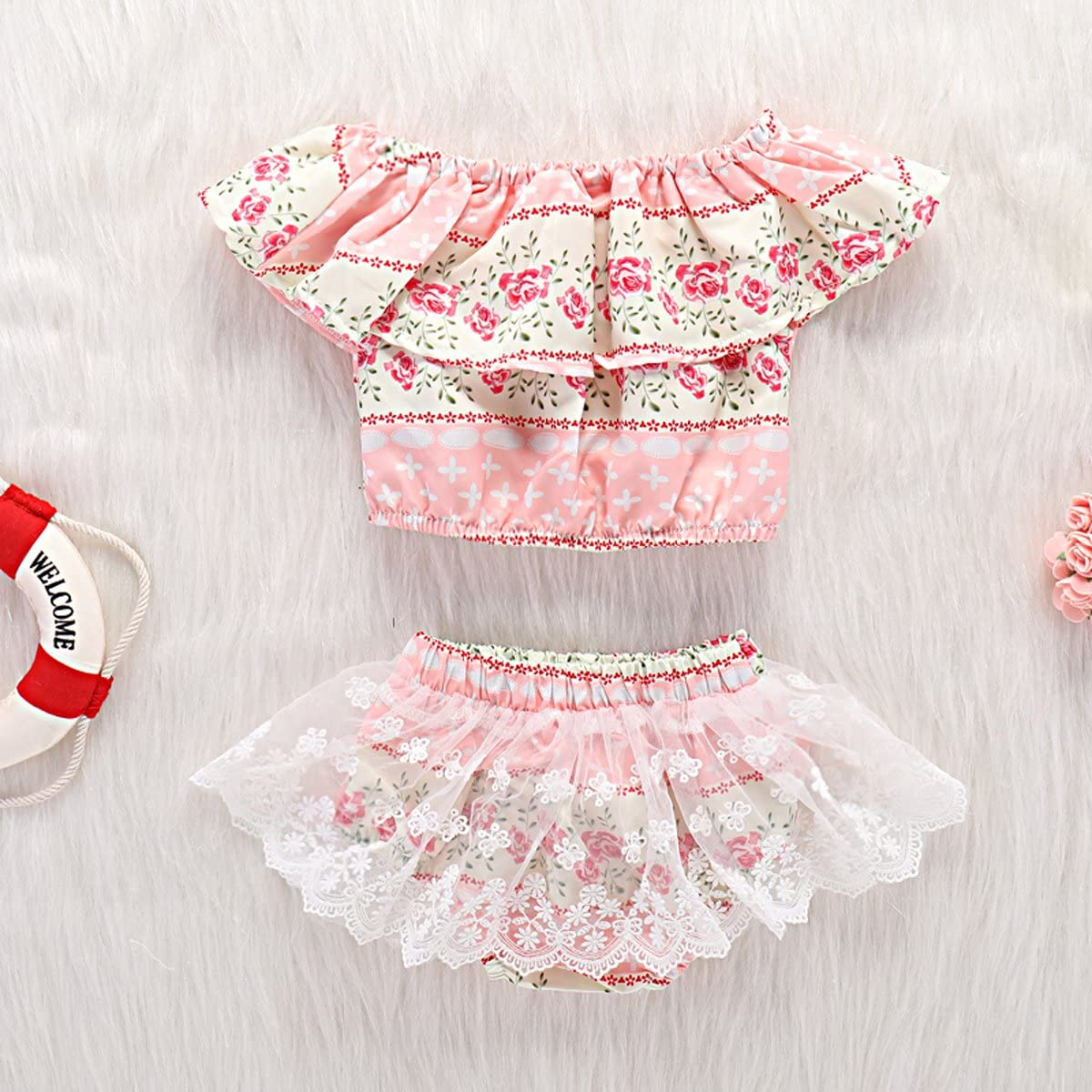 Baby Girls Floral Outfits Off Shoulder Ruffle Top Lace Shorts Set