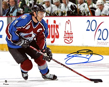 c05c2c55107 ... greece joe sakic colorado avalanche autographed 8quot x 10quot red  jersey skating photograph fanatics 3c9ad 68db2