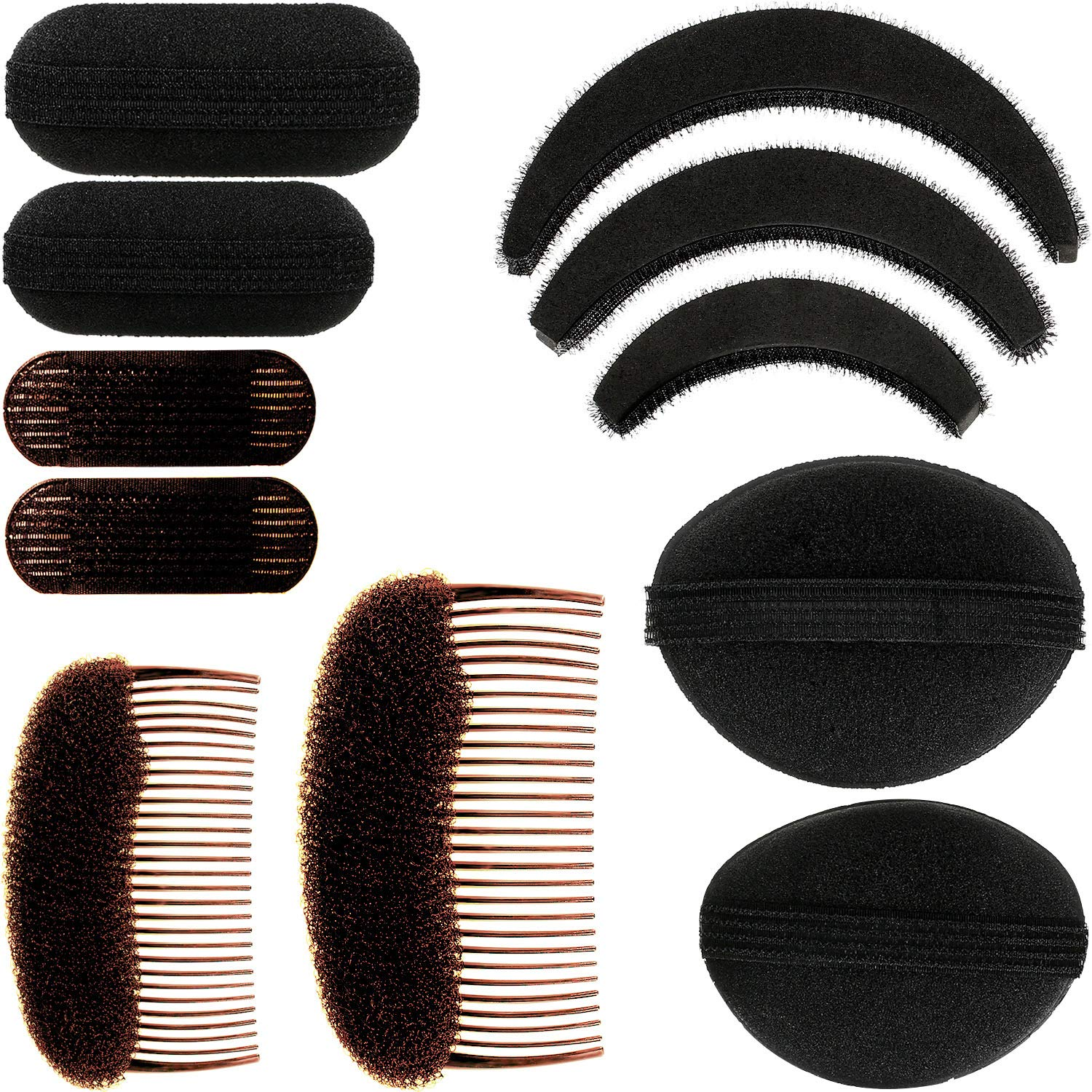 11 Pieces Women Sponge Volume Bump Inserts Hair Bases Hair Styling Tools Hair Bump Up Combs Clips Black Sponge Hair Accessories for Women DIY Hairstyles (Black): Beauty