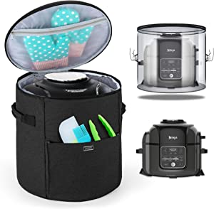 Luxja Cover Compatible with Ninja Foodi Pressure Cooker (Totally Enclosed with Side Handles), Pressure Cooker Cover Compatible with Ninja Foodi (Fits for 6.5 Quart and 8 Quart), Black