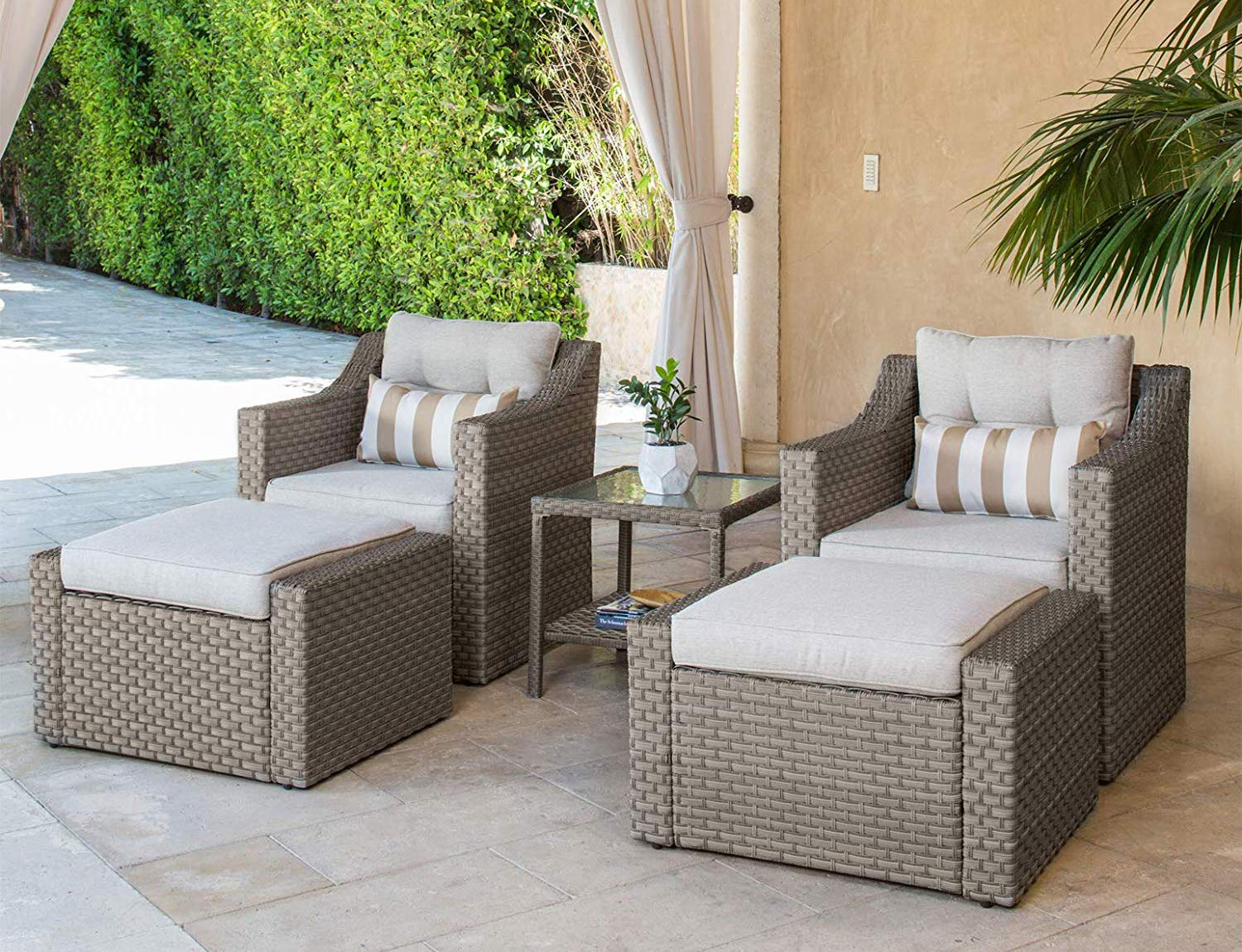 SOLAURA Patio Sofa Sets 5-Piece Outdoor Furniture Set Gray Wicker Lounge Chair Ottoman with Neutral Beige Olefin Fiber Cushions Glass Coffee Side Table