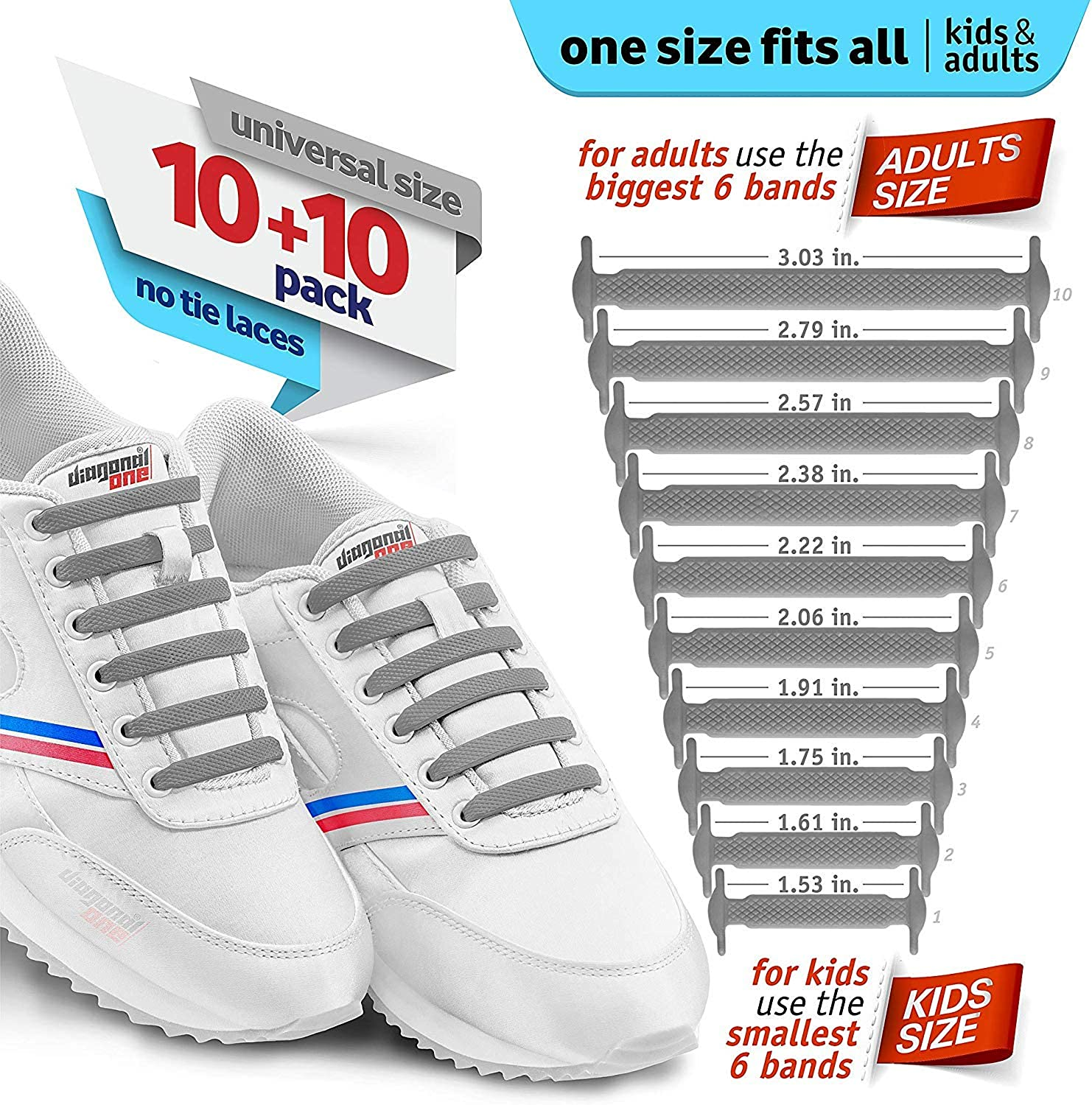 20 Slip On Tieless Flat Silicon Sneakers Laces Elastic Silicone Shoe Laces to Replace Your Shoe Strings DIAGONAL ONE No Tie Shoelaces for Kids and Adults