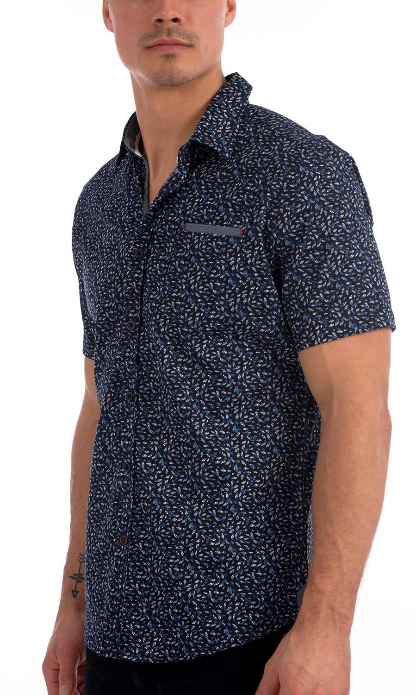 Projek Raw Mens Allover Print Short Sleeve Dress Shirt