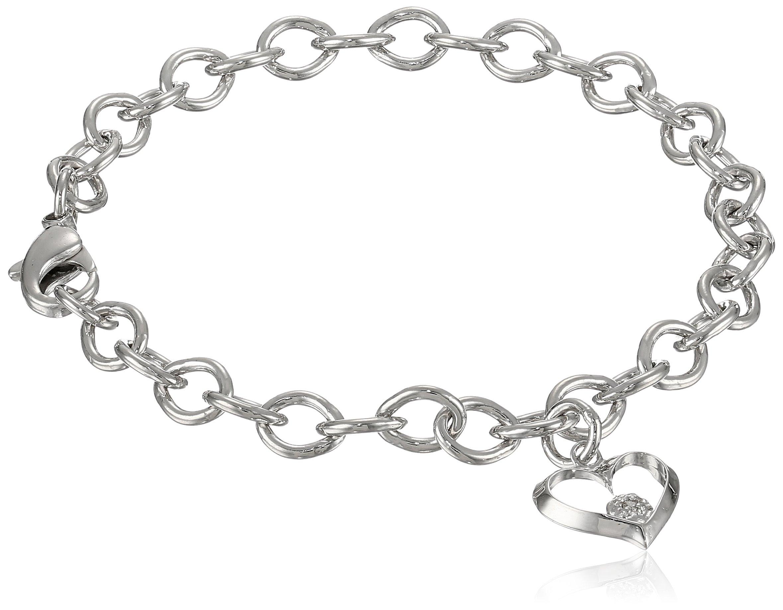 Sterling Silver Pre-Teen Diamond Open Heart Charm Bracelet, 6.75''