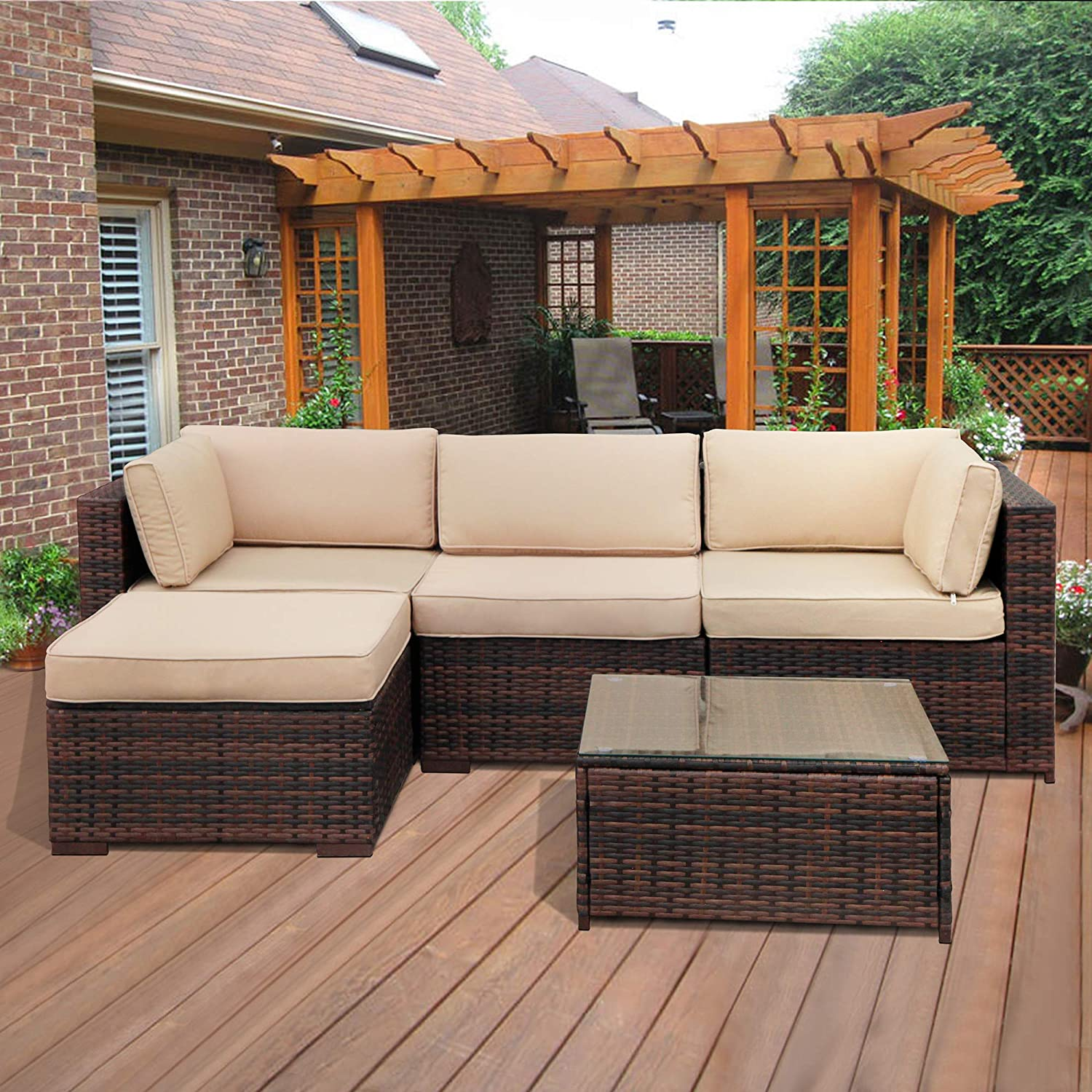 Super patio outdoor patio furniture set 5 piece all weather pe brown wicker set sofas with glass coffee table and ottoman steel frame beige cushions