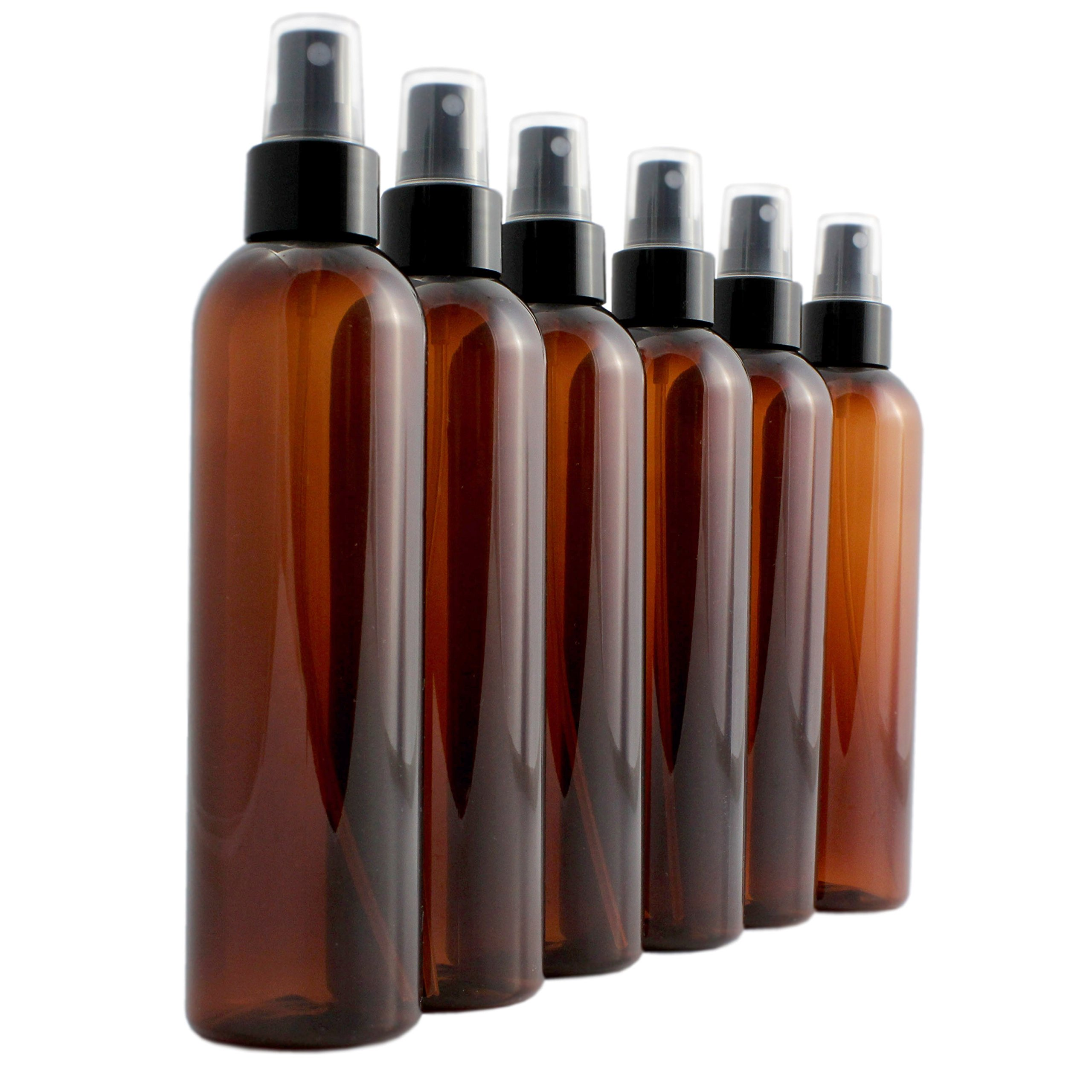 8oz Amber Brown Empty Plastic PET Spray Bottles with Fine Mist Atomizer Caps (6-pack); for DIY Home Cleaning, Aromatherapy, & Beauty Care