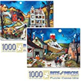 Bits and Pieces - Set of Two (2) 1000 Piece Jigsaw Puzzles for Adults - Halloween Hayride, Halloween - Boo! - 1000 pc Pumpkins, Trick or Treating, Ghosts Jigsaws by Artist Linda Nelson Stocks