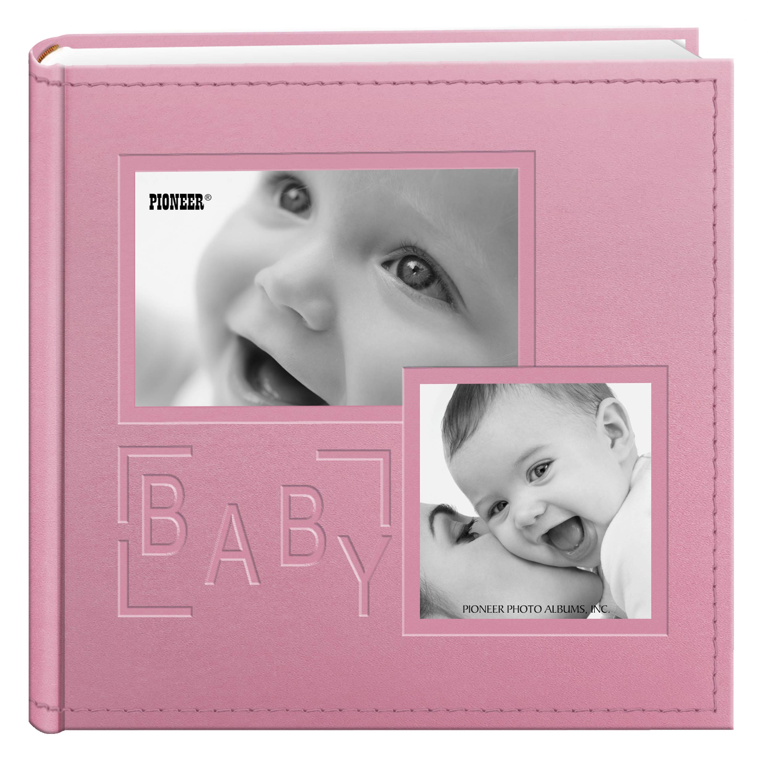 Pioneer Photo Albums 200-Pocket Embossed Baby Leatherette Frame Cover Album for 4 by 6-Inch Prints, Pink by Pioneer Photo Albums