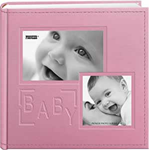 """Pioneer Photo Albums 200-Pocket Embossed """"Baby"""" Leatherette Frame Cover Album for 4 by 6-Inch Prints, Pink"""