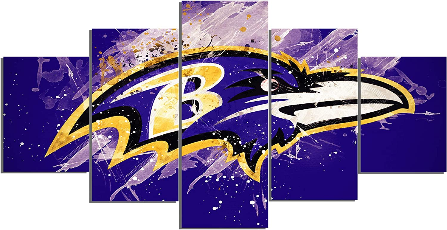 Baltimore Ravens NFL Foolball Art Canvas Posters Home Decor Wall Art Framework 5 Pieces Paintings for Living Room HD Prints Sports Pictures (S,No Framed)