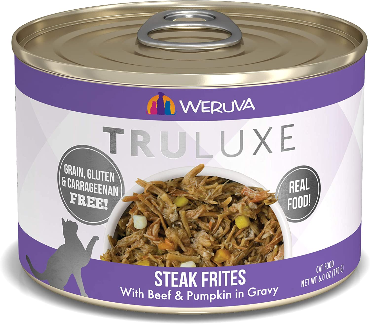 Weruva 878408003318 Steak Frites Single Canned Cat Food (24 Pack), 6 oz
