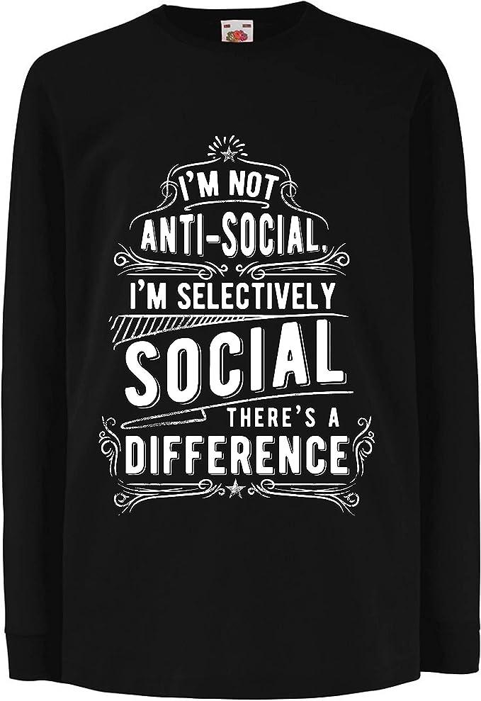 lepni.me Camiseta para Niño/Niña No Soy Antisocial Solo selectivamente Social, Gracioso Diciendo, Citas de Humor sarcástico: Amazon.es: Ropa y accesorios