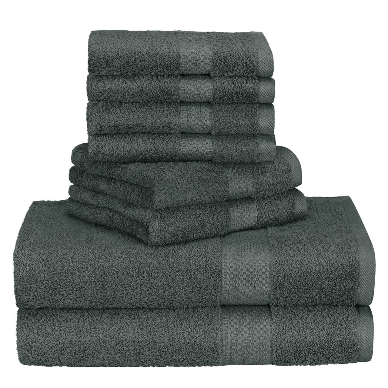 Homitt 100% Cotton 8 Piece Towel Set, Fade-Resistant and Anti-lint Washcloth Set with 2 Bath Towels, 2 Hand Towels and 4 Washcloths for Baby and Adult(Grey) HT-TS01