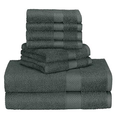 homitt Juego de toallas de lujo, 100% algodón premium, 8 piezas Juego de toallas (4 ...