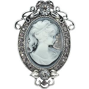 59a8ac4d0 Gyn&Joy Vintage Inspired Cameo Victorian Lady Maiden Crystal Rhinestone  Flower Brooch Pin BZ091