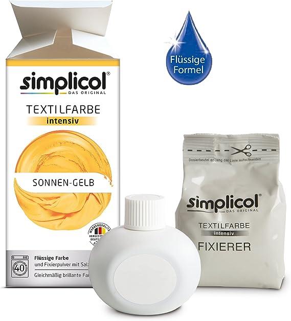 Simplicol Kit de Tinte Textile Dye Intensive Amarillo: Colorante para Teñir Ropa, Tejidos y Telas Lavadora, Contiene Fijador para Colorante Líquido, ...