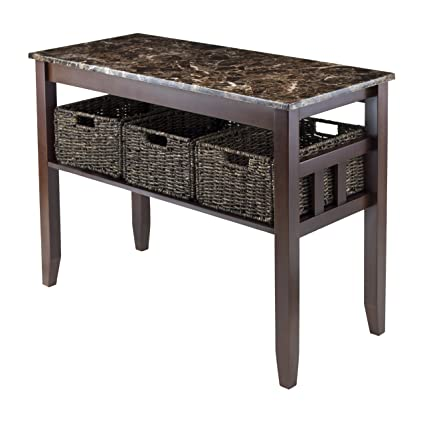 Exceptionnel Winsome Wood Faux Marble Top Zoey Console Table With 3 Baskets