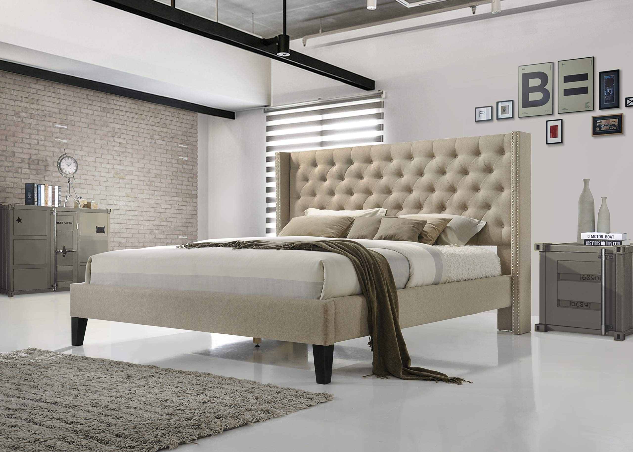 ALTOZZO ALT-Q6512-BGE Pacifica Tufted Upholstered Platform Contemporary Bed, Queen, Beige by ALTOZZO
