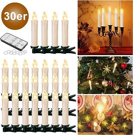 Beige, 30er 10//20// 30//40 er Weinachten LED Kerzen Lichterkette Kerzen Weihnachtskerzen Weihnachtsbaum Kerzen mit Fernbedienung Kabellos