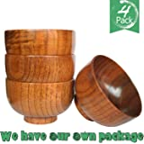 Wooden Salad Bowl/Rice Miso Soup Bowl/Rice Bowl/Decorative Bowl, 4.13-inch By 2.56-inch,set of 4