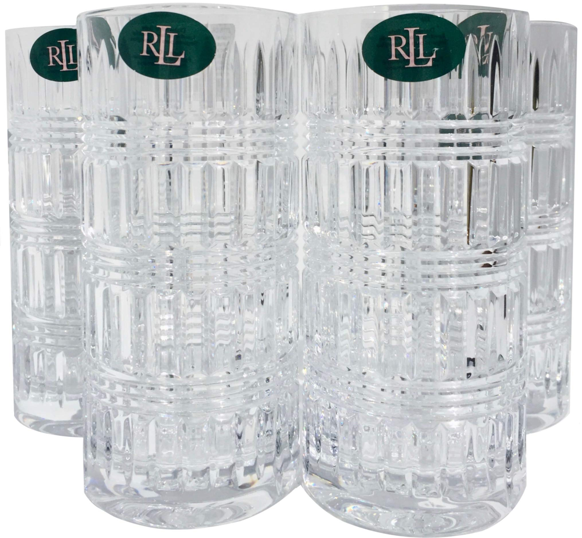 Lauren By RALPH LAUREN Ettrick Pattern Highball Drinkware Set of 4 Crystal Glasses 11.6 Ounces by Lauren by Ralph Lauren