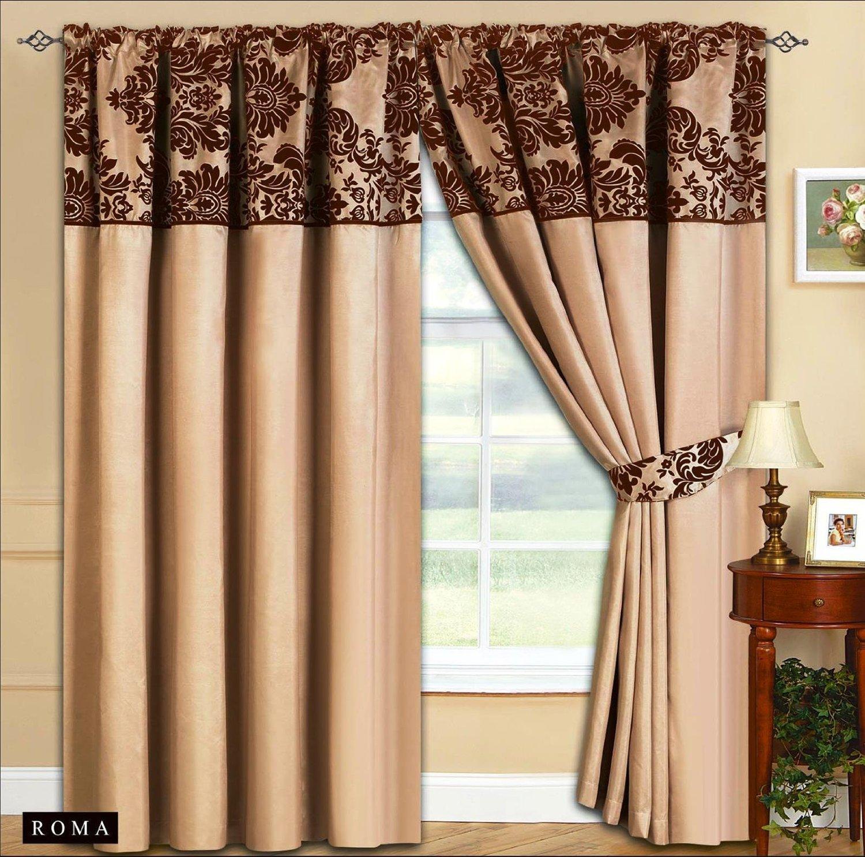 Schlafzimmer Vorhange Beige #22: Amazon.de: Roman Vorhang Ornament Barock Beige Braun Gardinen Mit  Kräuselband 2 Vorhänge 167x183cm