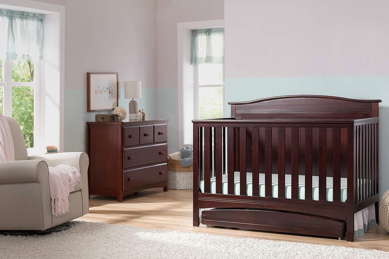 Bianca White Delta Children Bennett 4-in-1 Convertible Baby Crib /& Twinkle Stars Waterproof Fiber Core Crib and Toddler Mattress