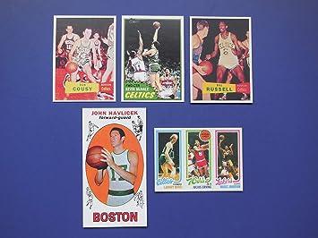 Boston Celtics 5 Card Basketball Rookie Reprint Lot Including