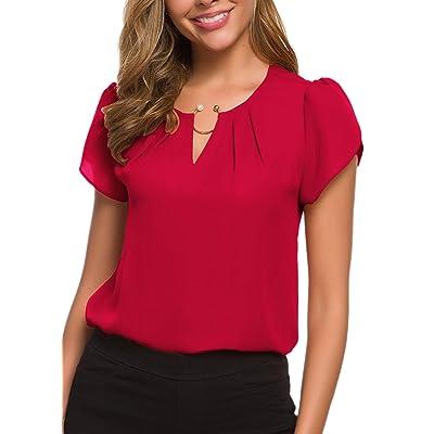 ACONIYA Women's Casual Round Neck Basic Pleated top Cap Sleeve Chiffon Elegant Work Pearl Blouse Summer Shirt at Amazon Women's Clothing store