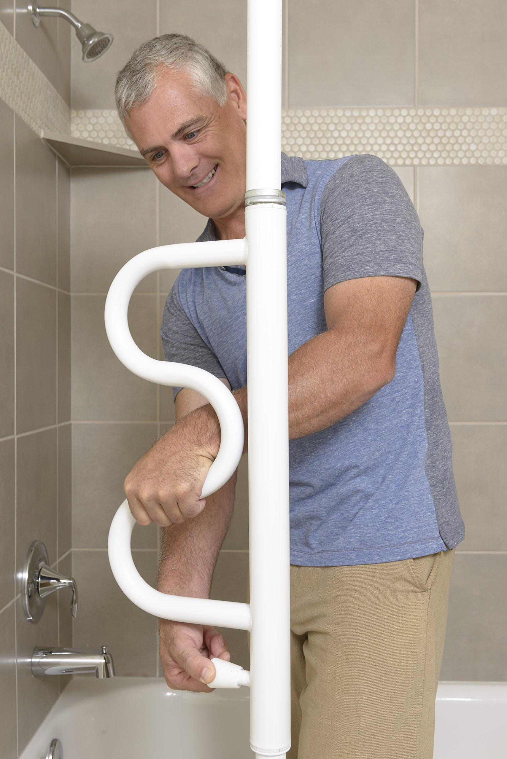 Stander Security Pole & Curve Grab Bar - Elderly Tension Mounted Transfer Pole + Bathroom Assist Grab Bar - Iceberg White by Stander (Image #5)