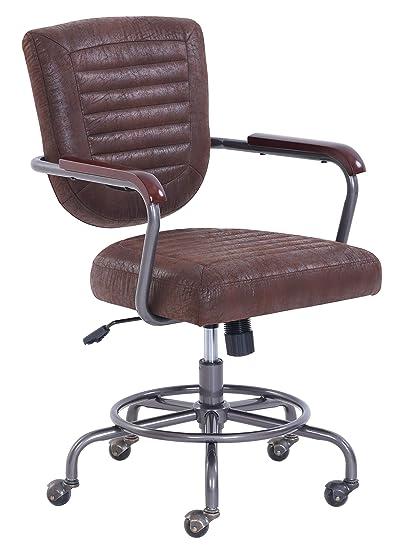 Wondrous Vintage Modern Faux Leather Farmhouse Swivel Office Chair Brown Pabps2019 Chair Design Images Pabps2019Com