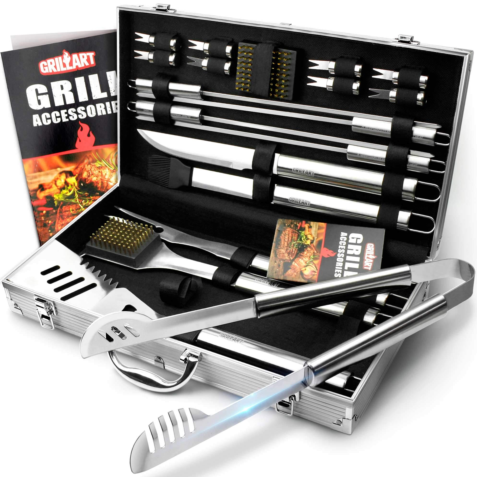 Weetiee BBQ Grill Utensil Tools Set. Reinforced Barbecue Tongs 19 Piece Stainless Steel BBQ Accessories Set - Complete Outdoor Grilling Tools Kit with Aluminum Storage Case - Ideal Gift for Man/Dad by Weetiee