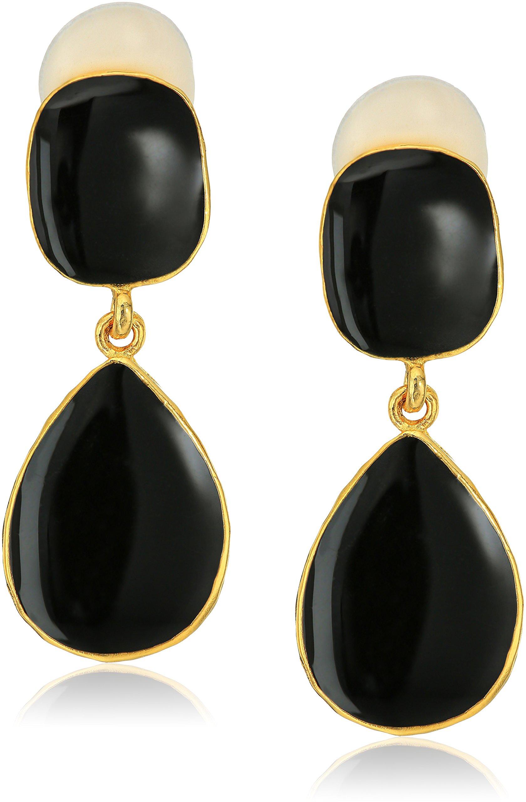 Kenneth Jay Lane Gold Black Enamel Drop Earrings