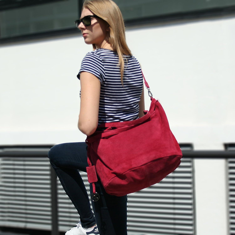 BACCINI Handtasche mit Langen Henkeln echt Wildleder Selma gro/ß Henkeltasche Schultertasche Ledertasche Damen blau
