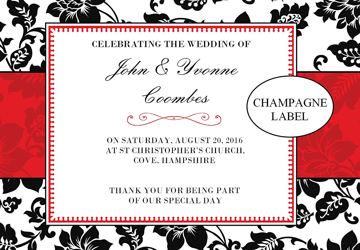 Personalised Wedding Wine or Champagne Bottle Label ~ Wedding Day Guest Table Favours Gift Idea N48