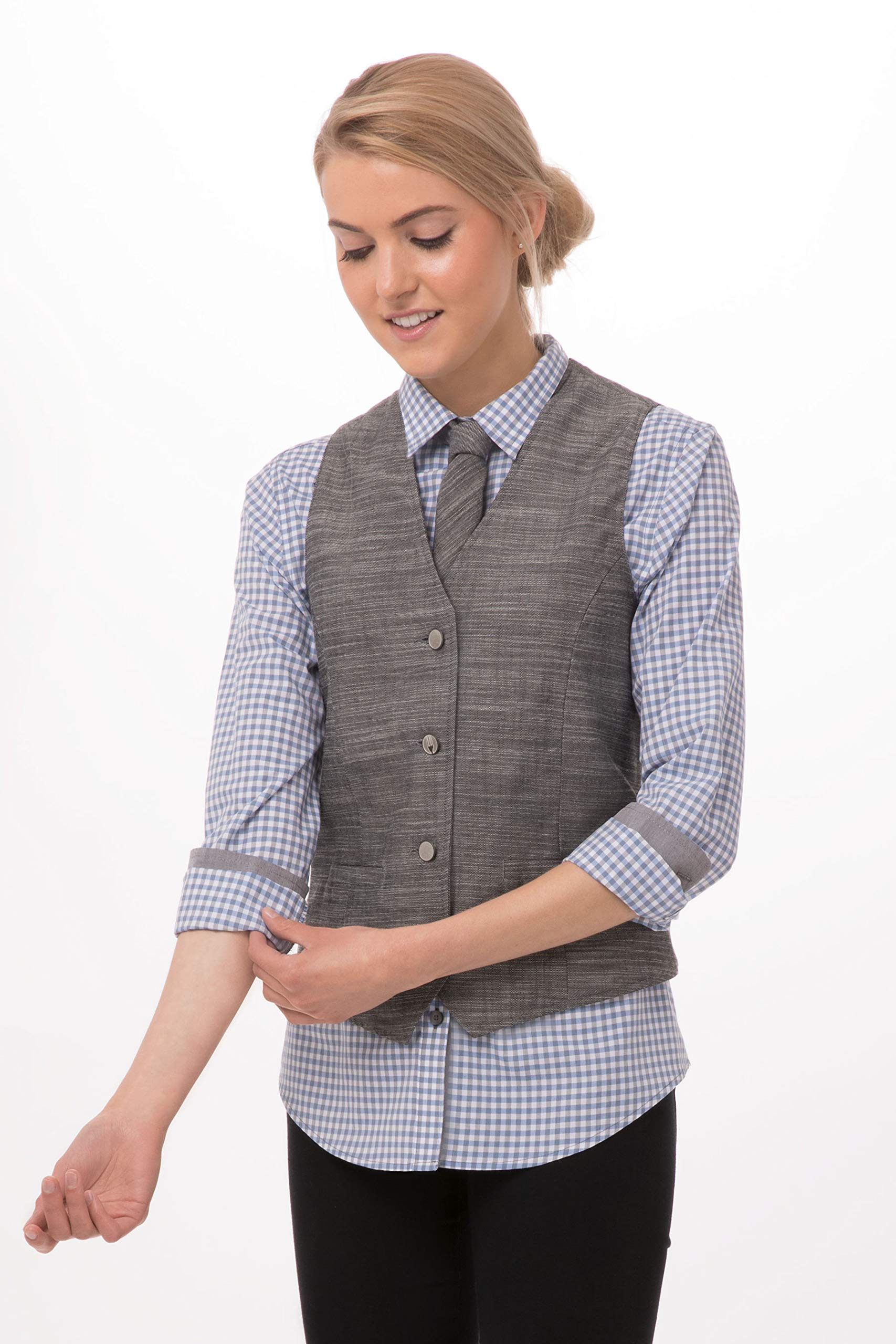 Chef Works Women's Augustine Vest, Gray, 2X-Large by Chef Works