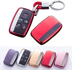 Soft TPU Smart Key Fob Case Holder Jacket Protector for Range Rover Evoque Velar Sport Discovery Freelander2 LR4 Land Rover Sport and Jaguar XF XJ XE F-PACE F-Type (Red)