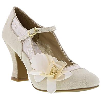 e286e5ce Ruby Shoo Women's Cream Gold Brocade Madelaine Mary Jane Pumps UK 3 EU 36
