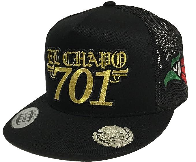 53afb954b66 Image Unavailable. Image not available for. Color  EL Chapo 701 Hat 3 Logos  Aguila EN LA VISERA Black Mesh