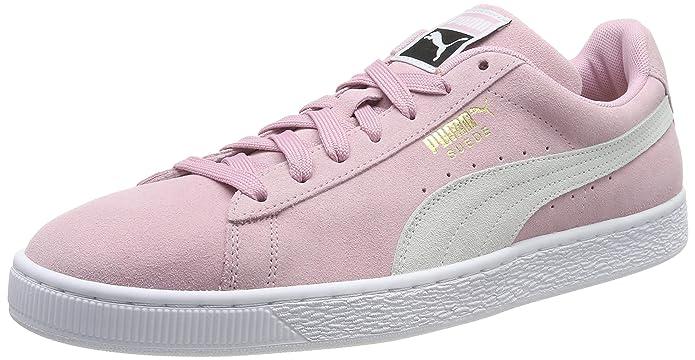 Puma Suede Classic Sneaker Damen Herren Unisex Wildleder Rosa mit weißem Streifen (Pale Pink)