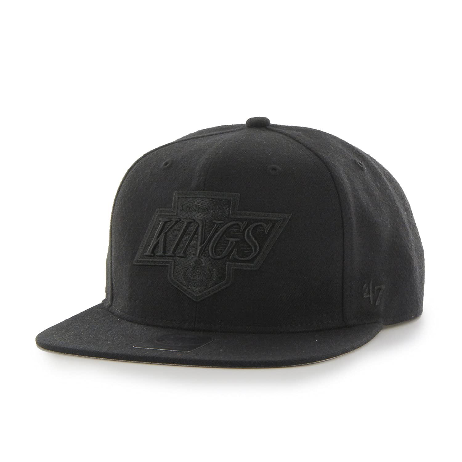 '47 Los Angeles Kings Black Tonal Sure Shot Adjustable Snapback Cap Brand NHL Flat Bill Baseball Hat