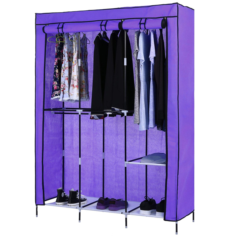 Homdox Portable Wardrobe Storage Closet Non-Woven Free Standing Garment Organizer Double Rod Storage Organizer (Purple)