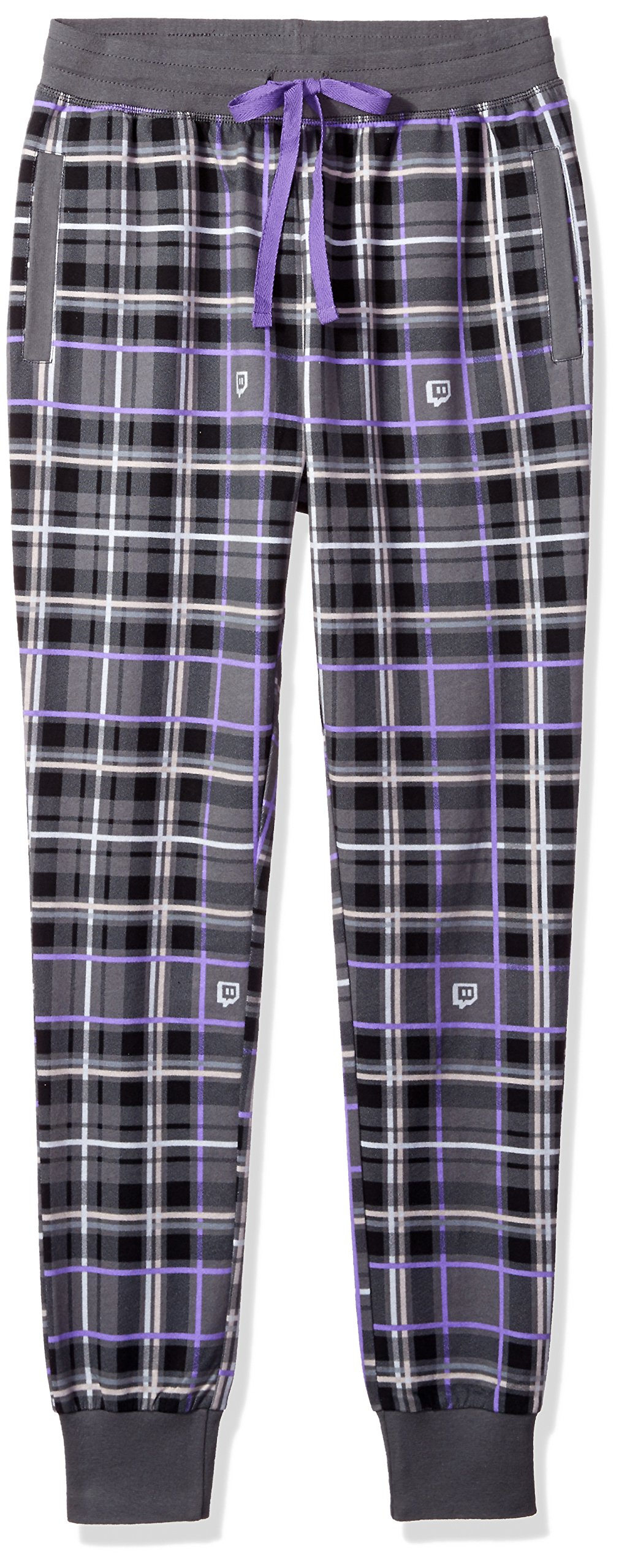 Twitch Glitch Plaid Lounge Jogger (Large, Purple) by Twitch