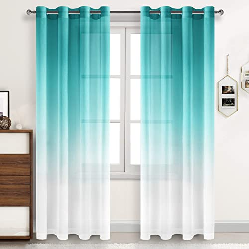 DWCN Ombre Sheer Curtains – Faux Linen Semi Voile Grommet Top Curtains for Bedroom and Living Room, Set of 2 Gradient Window Curtain Panels, 52 x 96 Inches Long, Teal