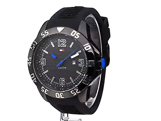 Amazon.com: Tommy Hilfiger Mens 1790983 Cool Sport Black Ion-Plated Case Black Silicone Strap Watch: Tommy Hilfiger: Watches
